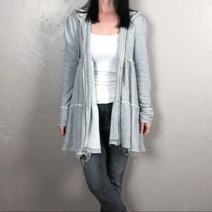 Free People Tiered Trapeze Zip Up Jacket Gray
